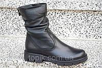 Полусапожки, ботинки женские зимние натуральная кожа, мех черные практичные (Код: Т895)