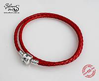 Кожаный браслет Пандора двойной, серебро, красный