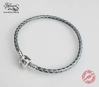 Кожаный браслет Пандора одинарный, серебро, серый