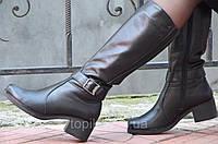 Женские зимние высокие сапожки черные хорошая натуральная кожа толстая подошва Львов (Код: Т938)