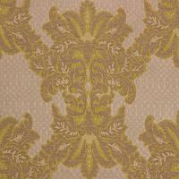 Бежево-желтая жаккардовая ткань для штор и декора с узором дамаск MINIONS-02