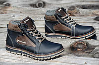 Зимние мужские ботинки на шнурках и двух молниях кожанные черные с коричневым (Код: Т899а)