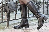 Женские зимние высокие сапожки черные хорошая натуральная кожа толстая подошва Львов (Код: Т938а)