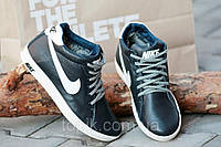 Кроссовки зимние кожа Nike ботинки полуботинки Найк реплика на мальчика черные (Код: Т161а)
