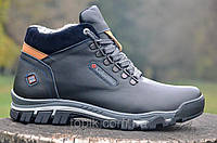 Мужские зимние ботинки, полуботинки натуральная кожа, мех, шерсть черные толстая подошва (Код: Т952)