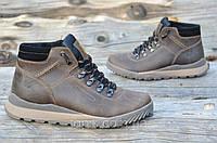 Мужские зимние спортивные ботинки натуральная кожа, толстая подошва коричневые, матовые (Код: Т941а)