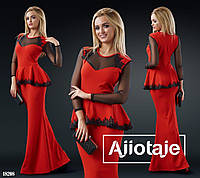 Красное вечернее прямое платье - 18208