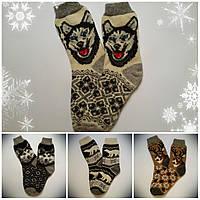 Мужские шерстяные новогодние носки с собаками, р. 41-43, белые