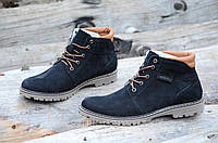 Зимние классические мужские ботинки, полуботинки черные натуральная кожа нубук (Код: Т969а)