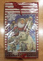 Подарочный бумажный пакет большой вертикальный Дед мороз 12шт/уп