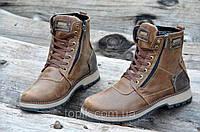 Зимние мужские ботинки, сапожки натуральная кожа, мех, шерсть коричневые прошиты (Код: Т975а)