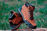 Ботинки полуботинки зимние кожа  реплика  мужские цвет рыжий Харьков (Код: Т295б)