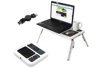 Столик-подставка для ноутбука E-Table, столик на диван / кровать, кулер для ноутбука, ld09 в постель