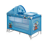 Кровать-манеж Lorelli Nanny 2 layers plus rocker blue adventure