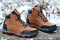 Ботинки зимние кожа натуральный мех  реплика  мужские коричневые Харьков (Код: Т295)