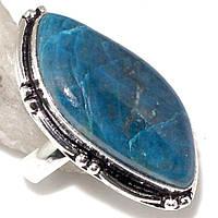 Азурит хризоколла кольцо с камнем азурит-хризоколла в серебре 19 размер.Индия, фото 1