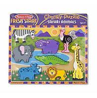 """Деревянная рамка-вкладыш Формовой пазл """"Сафари"""" для детей с 2 лет /Safari Animals ТМ Melissa & Doug MD13722"""