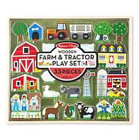 """Деревянный набор """"Ферма и трактор"""" для детей с 3 лет / Wooden Farm & Tractor Play Set (33 эл.) ТМ Melissa & Doug MD14800"""