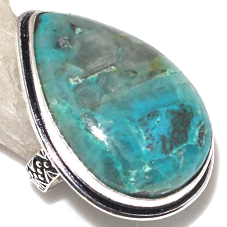 Азурит, хризоколла, малахит. Кольцо капля с камнем хризоколла в серебре.Размер 15,5-16.