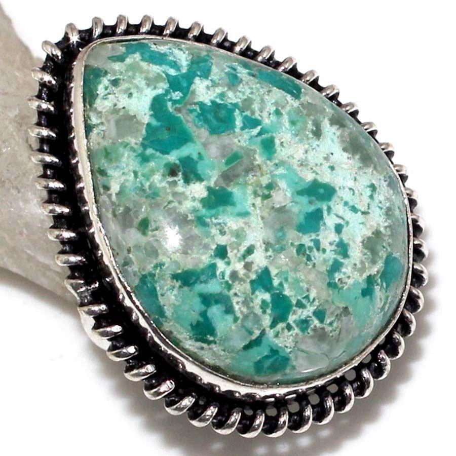 Хризоколла натуральная кольцо капля с камнем хризоколла в серебре.15 размер.
