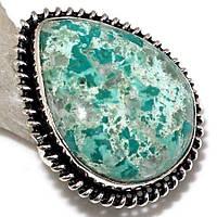Хризоколла натуральная кольцо капля с камнем хризоколла в серебре.15 размер., фото 1