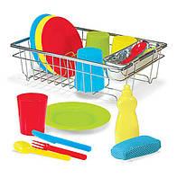 Набор кухонной пластиковой посуды для девочек с 3 лет / Wash & Dry Dish Set ТМ Melissa & Doug MD14282