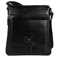 Качественная повседневная мужская кожаная сумка через плечо черная High Touch HT007882-31
