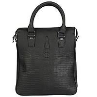 Стильная кожаная сумка для документов под рептилию черная Tofionno TF008801-11