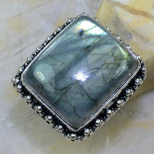 Красиве кільце з каменем лабрадор в сріблі квадратне кільце з лабрадором 18 розмір.