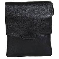 Универсальная мужская кожаная сумка-барсетка через плечо со съемной ручкой черная Lare Boss LB004946-11
