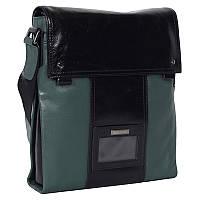Комбинированная мужская кожаная сумка с ремнем через плечо зеленая черная High Touch HT007180-31
