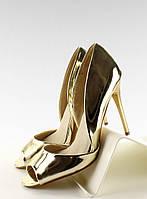 02-18 Золотистые женские туфли на шпильке с отступом открытая пятка EE09-P 35