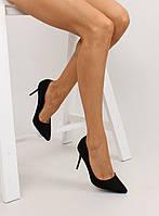 01-16 Черные женские туфли-лодочки на удобной шпильке 1029 40,36