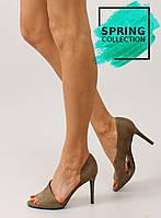 02-18 Оливковые асимметричные женские туфли с открытым носком c70p 37,36