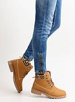 12-08 Леопардовые утепленные женские ботинки в стиле Тимберленд bl68 38