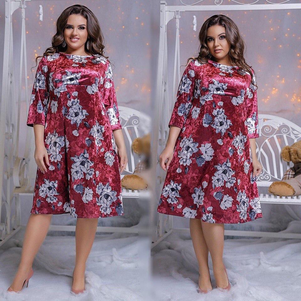 Платье  больших размеров расклешенное из бархата  код   215/8540