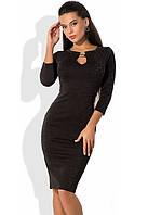 Черное платье из трикотажа с люрексом и молнией по спинке
