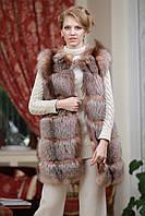Жилет жилетка из золоченой лисы чернобурки с отстежным подолом  Discolored silver fox fur vest, фото 1