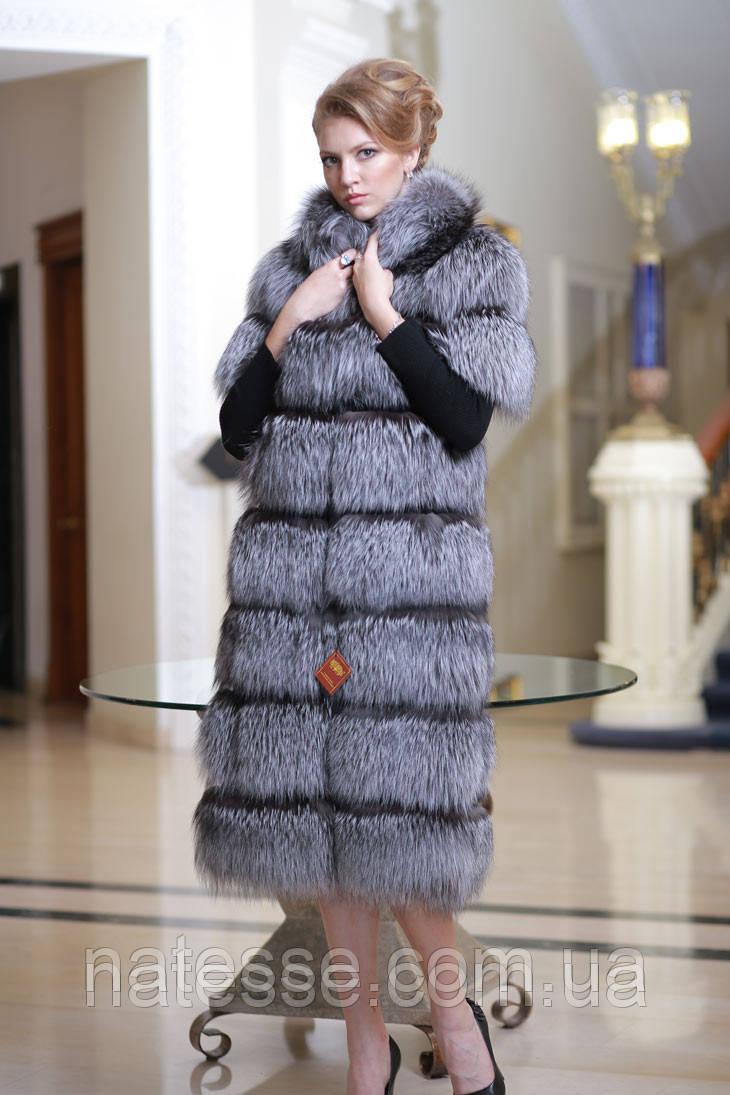 Жилет удлиненный из чернобурки spliced silver fox fur vest gilet sleeveless over coat
