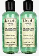 Травяное Масло для волос Ним Базилик и чайное дерево 210 мл Herbal hair oil Neem basil tea tree oil Khadi