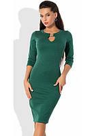 Зеленое платье из трикотажа с люрексом и молнией по спинке