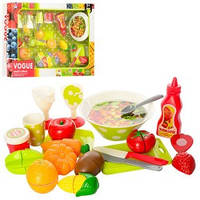 Продукты XJ329S-2  на липуч(овощи,фрукты)9шт,чашки,тарелки,досточка,нож,в кор-ке,57-37,5-8см