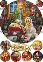 Печать съедобного фото - Ø21 см - Вафельная бумага - Винтажная новогодняя открытка №3