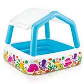 Детский надувной квадратный бассейн Intex 57470 со съёмной крышей (157*122 см)