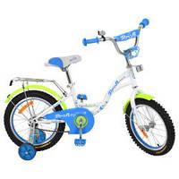 Велосипед детский PROF1 16д. G1624  Butterfly,белый,звонок,доп.колеса