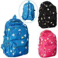 Рюкзак 302  застежка-молния,внутр.карман, 4наружн.карм,4 цвета, в кульке, 44-28-3см