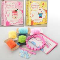 Набор для творчества MK 0487  вязание, станок, нитки, крючок, 3 вида, в кор-ке, 19-20-5,5см