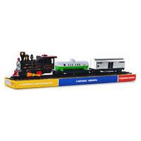 TG ЖД 307061 R/1802  паровоз 15см, вагоны 2шт 15см, звук,свет,на бат-ке,в слюде, 50,5-10-6,5см