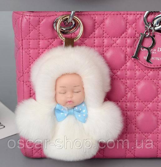 Хутряний брелок на сумку Лялечка 13 см, білий. Натуральне хутро