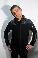 Кофта флисовая мужская черная на молнии